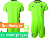 Kids 20-21 Soccer Argentina National Team Current Player Green Goalkeeper Short Sleeve Suit Jersey