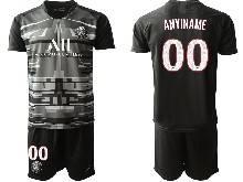 Mens 20-21 Soccer Paris Saint Germain ( Custom Made ) Black Goalkeeper Short Sleeve Suit Jersey