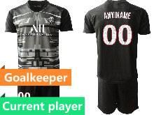 Mens 20-21 Soccer Paris Saint Germain Current Player Black Goalkeeper Short Sleeve Suit Jersey