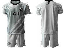 Mens 20-21 Soccer Paris Saint Germain ( Custom Made ) Gray Goalkeeper Short Sleeve Suit Jersey