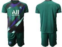 Mens 20-21 Soccer Paris Saint Germain ( Custom Made ) Green Goalkeeper Short Sleeve Suit Jersey