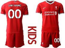Youth 20-21 Soccer Liverpool Club ( Custom Made ) Red Home Short Sleeve Suit Jersey