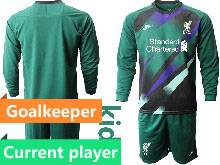 Youth 20-21 Soccer Liverpool Club Current Player Green Goalkeeper Long Sleeve Suit Jersey