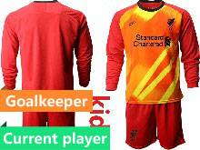 Youth 20-21 Soccer Liverpool Club Current Player Red Goalkeeper Long Sleeve Suit Jersey
