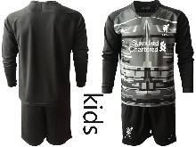 Kids 20-21 Soccer Liverpool Club ( Custom Made ) Black Goalkeeper Long Sleeve Suit Jersey