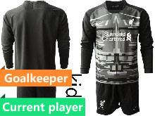 Kids 20-21 Soccer Liverpool Club Current Player Black Goalkeeper Long Sleeve Suit Jersey