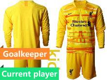 Kids 20-21 Soccer Liverpool Club Current Player Yellow Goalkeeper Long Sleeve Suit Jersey