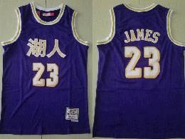 Mens Nba Los Angeles Lakers #23 Lebron James Purple 湖人 Mitchell&ness Swingman Hardwood Classics Jersey