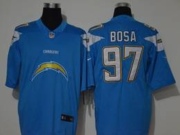 Mens Nfl Los Angeles Chargers #97 Joey Bosa Blue Fashion Logo No Number On Front Vapor Untouchable Jerseys