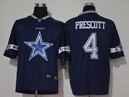Mens Nfl Dallas Cowboys #4 Dak Prescott 2020 Blue Fashion Big Logo Vapor Untouchable Limited Jerseys