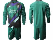 Mens 20-21 Soccer Liverpool Club ( Custom Made ) Green Goalkeeper Long Sleeve Suit Jersey