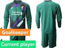 Mens 20-21 Soccer Liverpool Club Current Player Green Goalkeeper Long Sleeve Suit Jersey