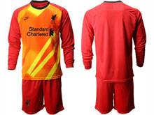 Mens 20-21 Soccer Liverpool Club ( Custom Made ) Red Goalkeeper Long Sleeve Suit Jersey