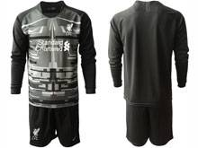 Mens 20-21 Soccer Liverpool Club ( Custom Made ) Black Goalkeeper Long Sleeve Suit Jersey