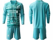 Mens 20-21 Soccer Liverpool Club ( Custom Made ) Blue Goalkeeper Long Sleeve Suit Jersey