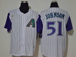 Mens Mlb Arizona Diamondbacks #51 Randy Johnson White Stripe Throwbacks Cool Base Nike Jersey