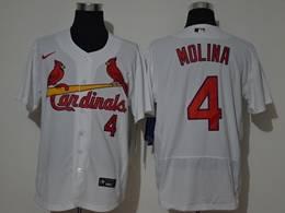 Mens Mlb St.louis Cardinals #4 Yadier Molina White Flex Base Nike Jersey