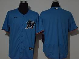 Mens Mlb Miami Marlins Blank Blue Flex Base Nike Jersey