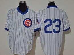 Mens Mlb Chicago Cubs #23 Ryne Sandberg White Stripe 2020 Pullover Cool Base Nike Jersey