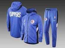 Mens Nba Los Angeles Clippers Blue Wind Coat And Blue Sweat Pants Suit ( Zipper )