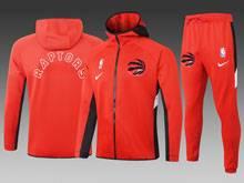 Mens Nba Toronto Raptors Red Wind Coat And Red Sweat Pants Suit ( Hoodie )