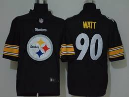 Mens Nfl Pittsburgh Steelers #90 T. J. Watt Black 2020 Fashion Logo No Number On Front Vapor Untouchable Jerseys