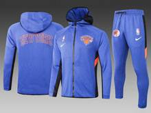 Mens Nba New York Knicks Blue Wind Coat And Blue Sweat Pants Suit ( Hoodie )