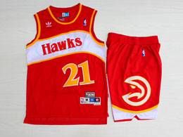 Mens Nba Atlanta Hawks #21 Wilkins Red Hardwood Classics Suit Short Jersey