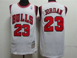 Mens Nba Chicago Bulls #23 Michael Jordan White 1997-98 Mitchell&ness Hardwood Classics Mesh Jersey