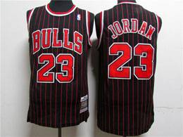 Mens Nba Chicago Bulls #23 Michael Jordan Black Stripe Mitchell&ness Hardwood Classics Mesh Jersey