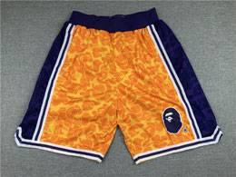 Mens Nba Los Angeles Lakers Gold Bape Shorts
