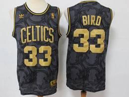 Mens Nba Boston Celtics #33 Larry Bird Black Golden Edition Adidas Hardwood Classics Jersey