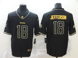 Mens Nfl Minnesota Vikings #18 Justin Jefferson Black Golden Vapor Untouchable Limited Jersey