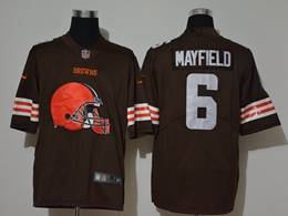 Mens Nfl Cleveland Browns #6 Baker Mayfield Brown 2020 Fashion Logo No Number On Front Vapor Untouchable Jerseys