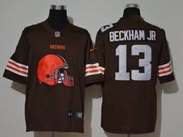 Mens Nfl Cleveland Browns #13 Odell Beckham Jr Brown 2020 Fashion Logo No Number On Front Vapor Untouchable Jerseys