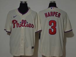 Mens Mlb Philadephia Phillies #3 Bryce Harper Cream Cool Base Nike Jersey