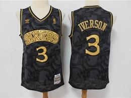 Mens Nba Philadelphia 76ers #3 Allen Iverson Black Golden Edition Adidas Hardwood Classics Jersey
