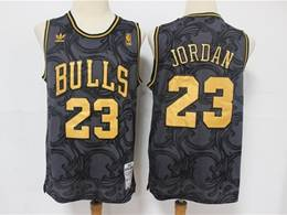 Mens Nba Chicago Bulls #23 Michael Jordan Black Golden Edition Adidas Hardwood Classics Jersey