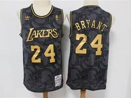 Mens Nba Los Angeles Lakers #24 Kobe Bryant Black Golden Edition Adidas Hardwood Classics Jersey