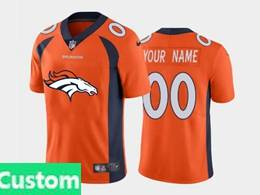 Mens Nfl Denver Broncos Custom Made Orange 2020 Fashion Logo No Number On Front Vapor Untouchable Jerseys