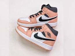 Women Air Jordan 1 Mid Aj1 Basketball Shoes Pink Color
