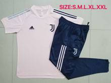 Mens 20-21 Soccer Juventus Club Earthy Pink Short Sleeves And Blue Sweat Pants Training Suit
