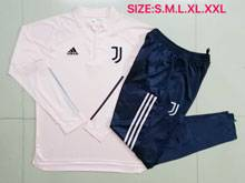 Mens 20-21 Soccer Juventus Club Earthy Pink Short Sleeves And Blue Sweat Pants Training Suit ( Half Zipper )