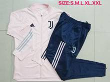 Mens 20-21 Soccer Juventus Club Earthy Pink Short Sleeves And Blue Sweat Pants Training Suit ( Long Zipper )