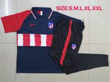 Mens 20-21 Soccer Atletico De Madrid Club Blue Polo Shirt And Navy Sweat Pants Training Suit