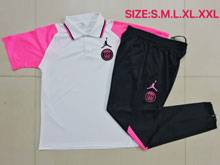 Mens Jordan 20-21 Soccer Paris Saint Germain White Pink Polo Shirt And Black Sweat Pants Training Suit