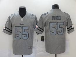 Mens Nfl Pittsburgh Steelers #55 Devin Bush Heather Grey Retro Vapor Untouchable Limited Jersey