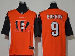 Mens Nfl Cincinnati Bengals #9 Joe Burrow Orange 2020 Fashion Logo No Number On Front Vapor Untouchable Jerseys