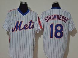 Mens Mlb New York Mets #18 Darryl Strawberry White Stripe Pullover Cool Base Nike Jersey