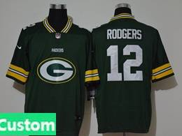 Mens Nfl Green Bay Packers Custom Made Green 2020 Fashion Logo No Number On Front Vapor Untouchable Jerseys